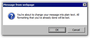 Confirm Hotmail to make the email message plain text