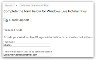 Hotmail customer service / tech support contact form
