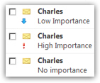 No importance, high importance, and low importance emails in Hotmail