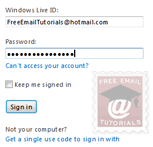 Windows Live Hotmail login page