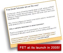 Historical screenshot of Free Email Tutorials in December 2005!
