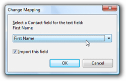 Change mapping before importing contacts
