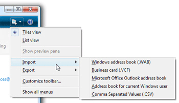 Choose a contact import format in Windows Live Contacts