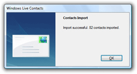 Contacts successfully imported in Windows Live Mail