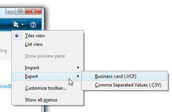 Exporting contacts from Windows Live Mail