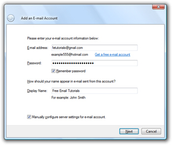 Gmail connection settings in Windows Live Mail