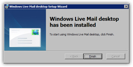 Windows Live Mail installation complete