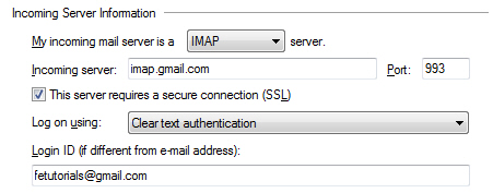 Incoming server settings for Gmail in Windows Live Mail
