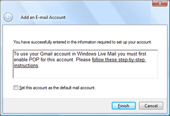 Gmail automatically configured in Windows Live Mail