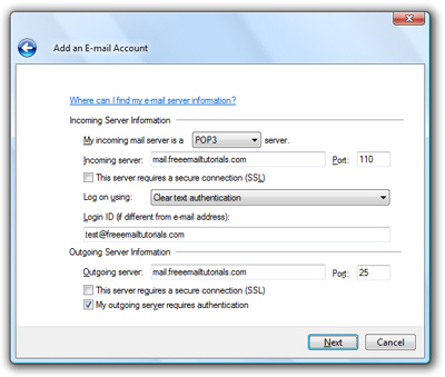 Email server settings in Windows Live Mail