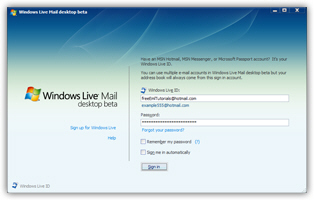 Windows Live setup screen
