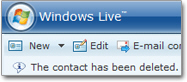 Successful contact deletion in Hotmail