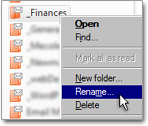 Right-click to rename a Hotmail folder in Windows Live Mail