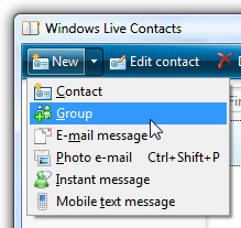 Creating a new contact group in Windows Live Mail