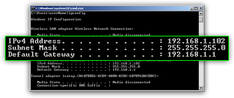 Get your current IP address in Windows with DOS and ipconfig