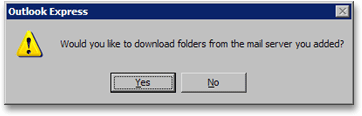Outlook Express attempts to download Hotmail emails and folders