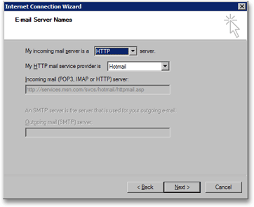 Outlook Express' email server names screen