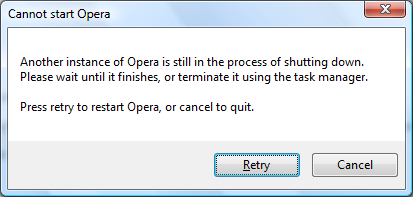 Opera 9.5's new Store Init Failed error message