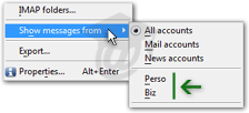 Using email account categories in Opera Mail