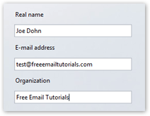 Email account information in Opera Mail (M2)