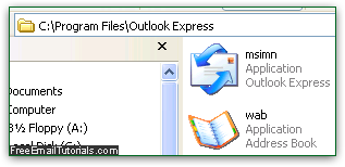 Outlook Express program file location