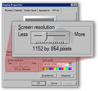 Changing the screen resolution (or 'Screen Area') in Windows