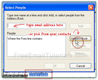 Setup the auto-responder only for some Outlook Express contacts