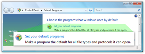 Windows Vista's Set Programs applet in Control Panel
