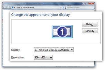 Change screen resolution in Windows 7