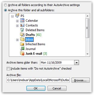 manually run autoarchive outlook 2007