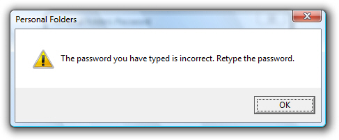 Outlook 2007 problem - wrong password