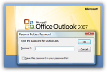 Prevent access to Outlook 2007 with a password