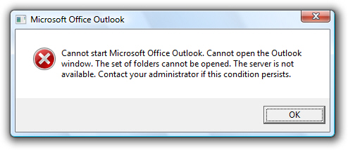 Outlook 2007 cannot load emails without the correct password
