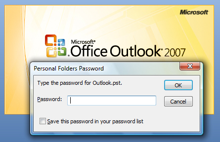 Outlook 2007 is now password-protected