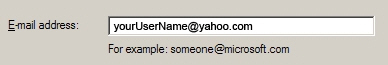 Enter your full Yahoo! Mail email address