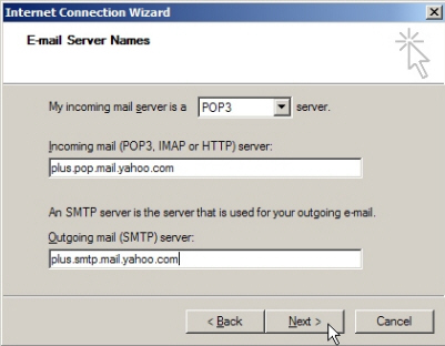 Mail server settings for Yahoo! Mail in Outlook Express