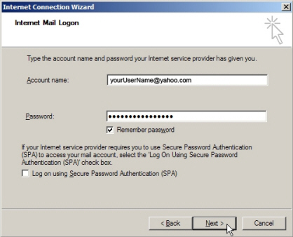 Yahoo! Mail credentials in Outlook Express