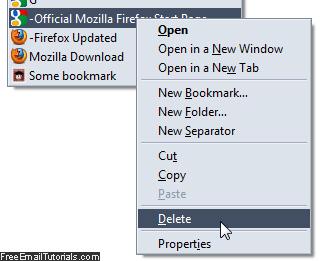 Remove and delete a bookmark in Firefox