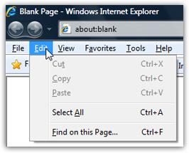 Show the menus in Internet Explorer (