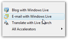 Right-click to email a link using Hotmail by default