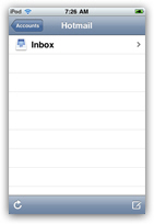 Hotmail inbox on iPhone or iPod touch