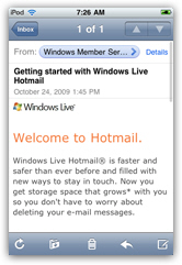 Your Hotmail emails shown inside an iPhone or iPod touch