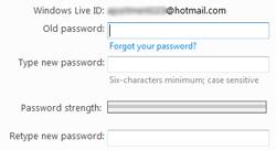 change pasword hotmail