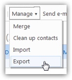 how to expoert contacts from windows live mail