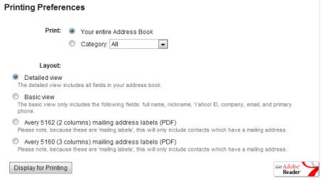 Print your Yahoo Mail contact list (address book contacts)