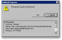 Outlook Express cannot connect to Hotmail