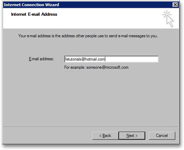 Enter your email address in Outlook Express