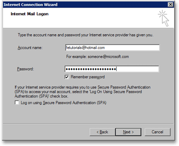 Enter your email account name in Outlook Express