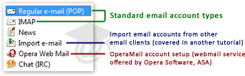 Email account types supported in Opera Mail (M2)